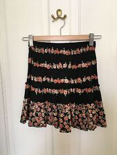 Topshop Black Flowery Skirt, Size 8