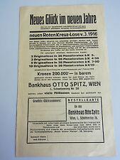 """Werbung für """"ROTES KREUZ-LOSE"""" 1916 // Bankhaus Otto Spitz, WIEN / Lotterie. RAR"""