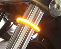 LED 39mm-41mm Fork Turn Signal Kit w/ Smoked Lens for Harley Honda & ALL