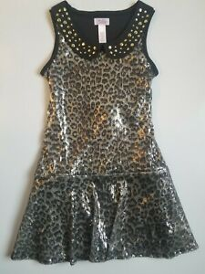 Justice Sequin Leopard print, Studded collar dress 8 EUC