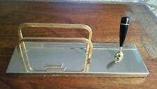 Vintage Art Deco Desk Caddy Pen Holder & Note Envelope Stand Gold & Silver Tone