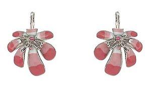 Designer Chic Enamel Hibiscus Flowers Necklace Earrings Set w/ Swarovski Crystal