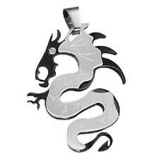 ACERO inox. colgante cadena de Collar China Dragón DRAGON NEGRO COLOR PLATA