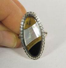 Size 8.5 Ring Onyx Tiger Eye Mother Pearl Inlay .925 Sterling Silver USA Made 8
