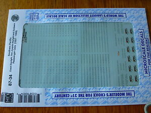 """Microscale Decal HO #87-34 Southern Pacific - SP -- Passenger Cars """"Daylight"""" ,"""