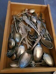 Antique Souvenir Mixed Spoon Lot 35 Spoons!