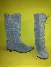 Blue Suede Fly London Low Heel Boots 6.5 37