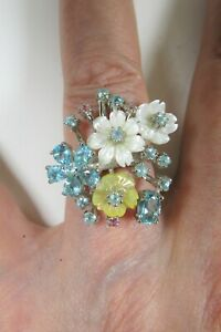 Flower Ring APATITE TOURMALINE Mother of Pearl 14k White Gold-plated 925 Silver