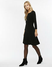 New MONSOON Freja Black Sparkle Knitted Fit & Flare Jumper Dress Size 12 14 £70
