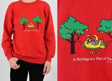 80s Vintage Christmas Sweatshirt Partridge in a Pear Tree Womens S M Hanes Xmas