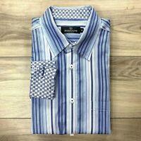 Bugatchi Uomo Flip Cuff Blue Striped Long Sleeve Button Down Dress Shirt Mens XL