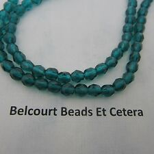 6mm Czech Crystal  Light Capri Blue Transparent Fire Polished Glass Beads 6mm