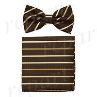 Men's microfiber Pre-tied Bow Tie & hankie set Brown striped stripes formal