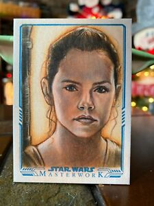 Star Wars Topps Artist Sketch Card 1/1 Rey by Huy Truong