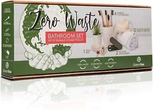 Kit Zero Dechet Brosses Dents Bambou x4 Demaquillant lavable x12 Ecologique