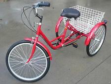 "New 3 WHEEL Adult Tricycle 24"" Trike 6 SPEED Bike Red Gomier"