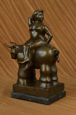 Bronze Art Deco Hand Made Botero Masterpiece Naked Lady With Bull Sculpture SALE