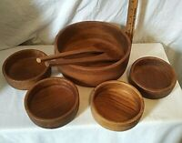 Vintage Mid Century Modern Goodwood Teak Salad Bowl Set With Fork & Spoon