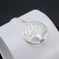 Frauen Halskette Baum Silber Blätter Hohl Kettemit Anhänger Geschenk New Q2O4