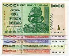 Zimbabwe 2008 Billion Dollar Set - 5 notes - AA/AB prefix 100 Trillion Series