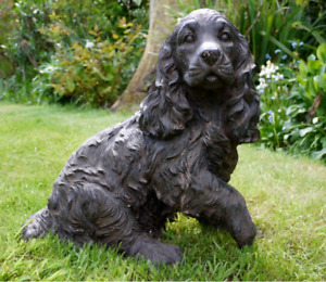 Resin Dog Cocker Spaniel Sculpture Garden Ornament Patio Figurine Outdoor Animal