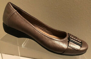 Clarks Collection Womens Golden Brown Slip On Leather Ballet Flats Shoes 6.5 M
