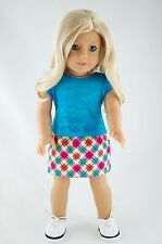 Blue Tee and Plaid Skirt American Made Doll Clothes For 18 inch Girl Dolls