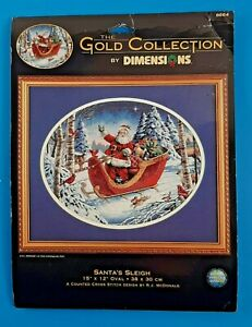 Dimensions Gold Collection Santa's Sleigh Counted Cross Stitch Kit #8664 15x12
