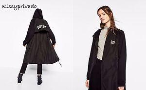 ZARA Black Long Jacket / Coat with Hood and Slogan on Back M BNWT REF: 1501 274