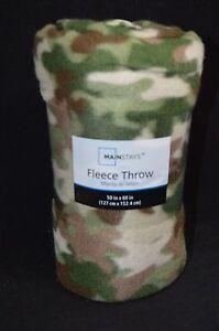 """Camo Warm Cozy Super Soft Comfort Fleece Throw Blanket 50x 60"""" Green Tan"""