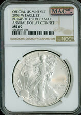 2008-W SILVER EAGLE NGC MAC MS-69 PQ ANNUAL SET 2nd FINEST GRADE SPOTLESS  *