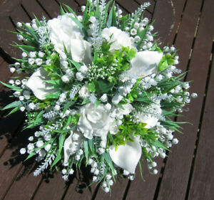 Wedding Artifical Lily of the valley Rose Brides Bridal Bouquet & Buttonholes