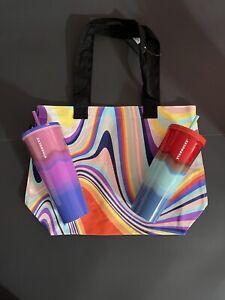 Starbucks Summer 2021 Pink Purple Blue Red Ombré Tumbler Swirl Tie Dye Tote Bag