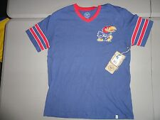 NWT Blue Kansas Jayhawks NCAA Embroidered Ringer Powerhouse T Shirt Adult M NICE