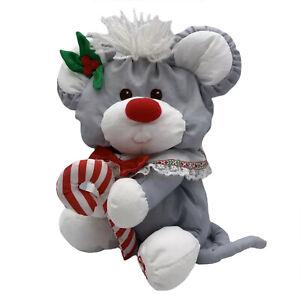 Fisher Price Puffalump Gray Christmas Mouse Stuffed Animal 1987 Plush Candy Cane