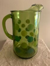 Vintage Green Glass Pitcher with Green Polka Dots