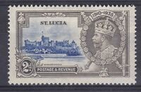 DB366) St. Lucia 1935 Jubilee 2d ultramarine & grey SG 110 with variety