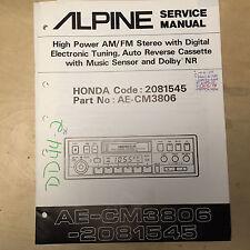 Alpine Service Manual for the AE-CM3806 Cassette Player Honda 2081545   mp