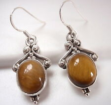 Accented Tiger Eye Earrings 925 Sterling Silver Ethnic Tribal Style Dangle #2n