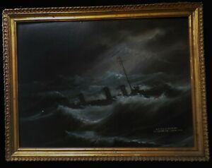 Antique Nautical Painting DESTROYER USS DECATUR DD-5 en Route to CHINA 1909 O/B