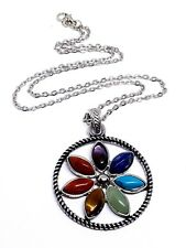 7 Chakra Flower Pendant Curb Chain Necklace Reiki Healing Meditation Seven Stone