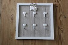 SHABBY CHIC FRAMED  KEY HOOK SQUARE WITH 6 NUMBERED HOOKS FOR KEYS OR MESSAGES