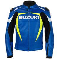 Suzuki Biker Jackets Cowhide Leather MotoGP Racing Protective Motorcycle Zip Up