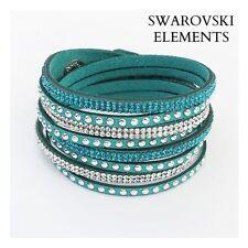 Bracelet multirangées cuir souple  Swarovski® Elements  ajustable vert lagon