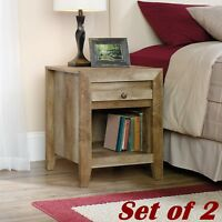 Set of 2 Rustic Night Stands with Drawer Shelves Bedside Nightstand Bedroom Wood