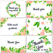 Thank You Cards With Envelopes - Boxed Floral Flower Notes | 48 Count Set