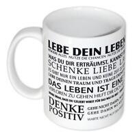 Lebe dein Leben Kaffeetasse - positive Motivation Sprüche Tasse Kaffeebecher NEU