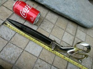 "ANTIQUE RARE GIANT ENORMOUS 15"" TAILOR SCISSORS ROBUST TOOL STEEL HANDLE BRASS"