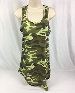 Body Central 100% Polyester Camo Racer Back High Low Cold Shoulder Top Sz. L