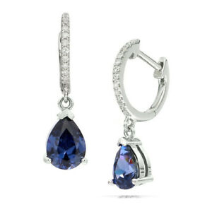 Dangle Drop Hoop Earring with Blue Pear Shape Sapphire 14KT White Gold on Silver
